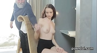 Innocent schoolgirl was tempted and pounded by her elderly teacher