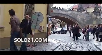 naked lady on streets of Prague Europe