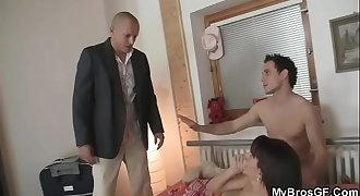 He finds his sexy girl fucked