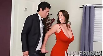 Horny milf is auctioned, and ends up having a trio with two studs with big dicks