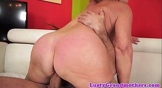 Busty grandma in stockings gets slammed hard